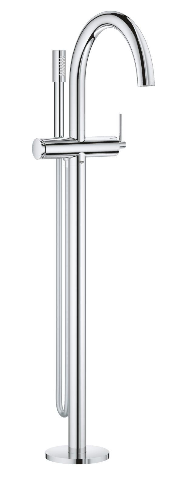 Zdjęcie GROHE Atrio – jednouchwytowa bateria wannowa do montażu podłogowego z zestawem punktowym chrom 32653003