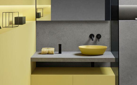 Zdjęcie Umywalka nablatowa Bathco Trieste Amarillo 45x30cm żółta 6021 @
