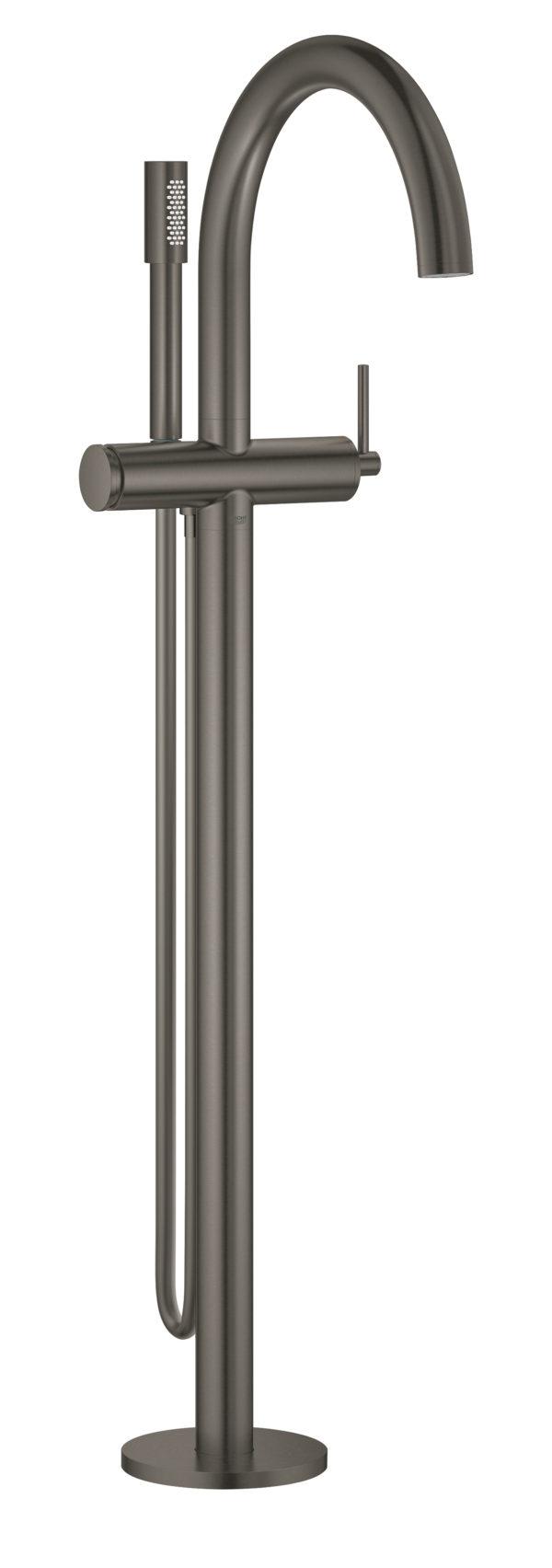 Zdjęcie GROHE Atrio – jednouchwytowa bateria wannowa do montażu podłogowego z zestawem punktowym brushed hard graphite 32653AL3