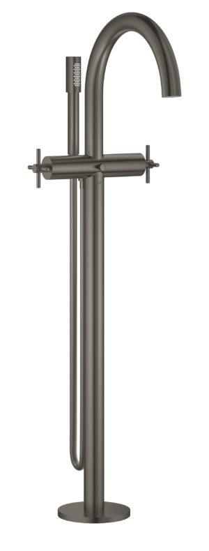 GROHE Atrio - 2-uchwytowa bateria wannowa do montażu podłogowego z zestawem punktem Brushed Hard Graphite 25044AL3