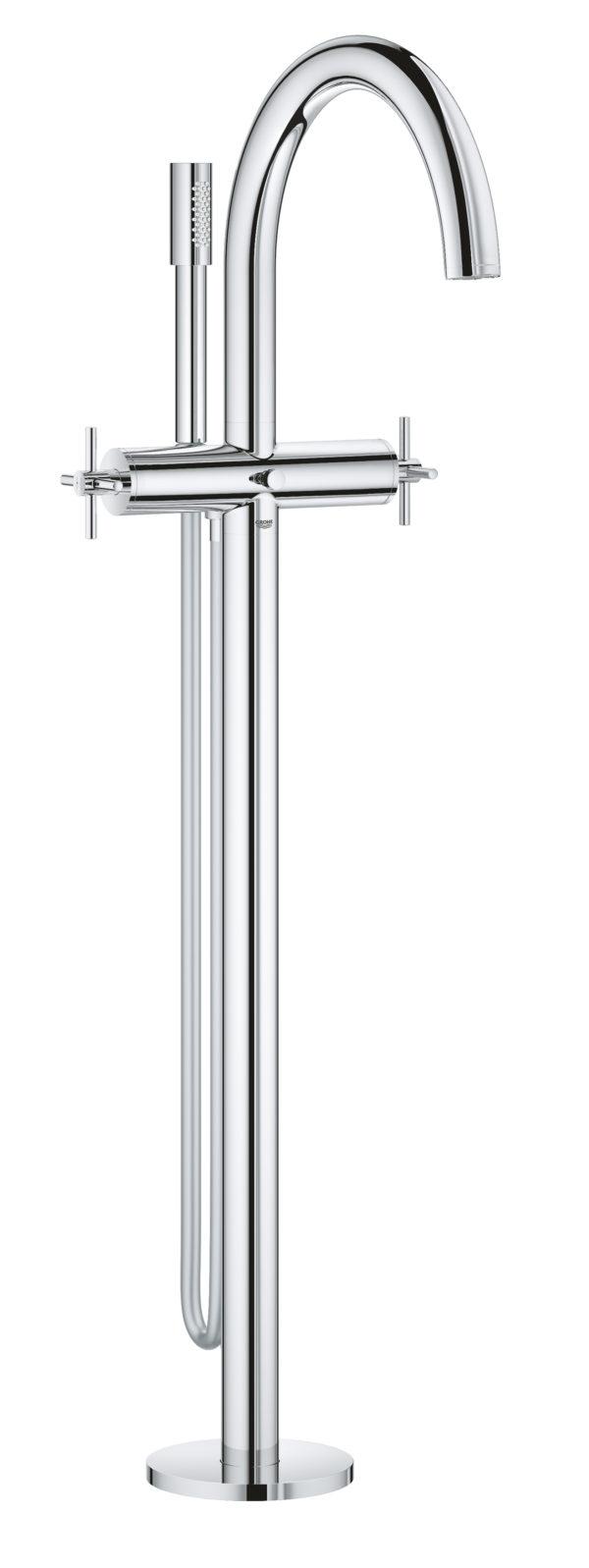 Zdjęcie GROHE Atrio – 2-uchwytowa bateria wannowa do montażu podłogowego z zestawem punktowym chrom 25044003