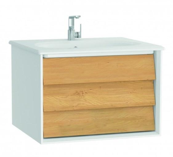 Szafka z umywalką Vitra Frame 60 cm  biały / dąb szuflada 61216 @