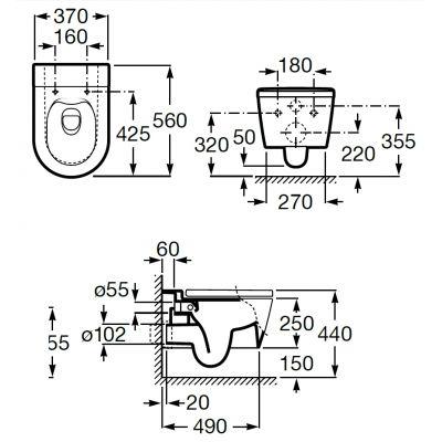 Zdjęcie Miska WC wisząca Roca Inspira Round Rimless 37×56 cm onyks A346527640