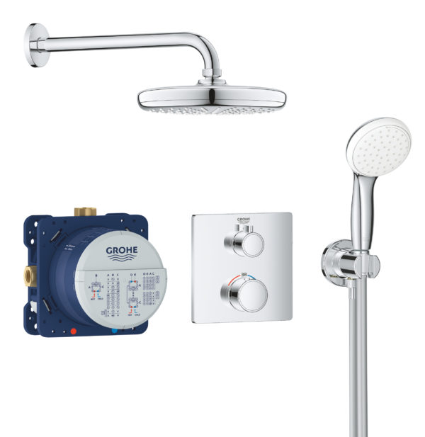 Zdjęcie GROHE Grohtherm Tempesta 210 – termostatyczny system prysznicowy do montażu podtynkowego chrom 34729000 .