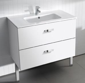 Zdjęcie Zestaw łazienkowy Roca Victoria Basic 100×56,5 cm Unik z 2 szufladami (szafka+umywalka) Biały połysk A855851806