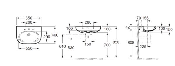 Zdjęcie Umywalka ścienna Roca Meridian 65×46 cm Maxi Clean A32724100M
