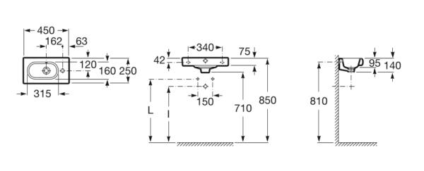 Zdjęcie Umywalka ścienna Compacto z otworem na baterię po prawej stronie Roca Meridian 45×25 cm A327248000