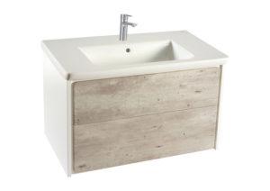 Zestaw łazienkowy Roca Ronda 60×48 cm Unik z 2 szufladami (szafka + umywalka), Cement / Biały mat A851455453 @