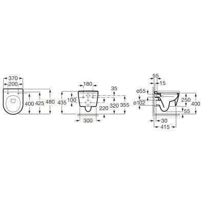 Zdjęcie Miska WC wisząca Roca Inspira Round Rimless Compacto 37×48 cm biały matowy A346528620 @