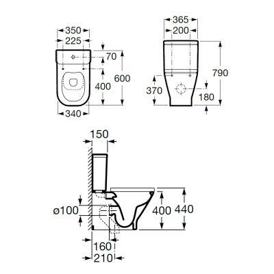 Zdjęcie Miska WC o/podwójny do kompaktu Roca Gap 36,5x60x79 cm WC Rimless (montaż do ściany)  A34273700H