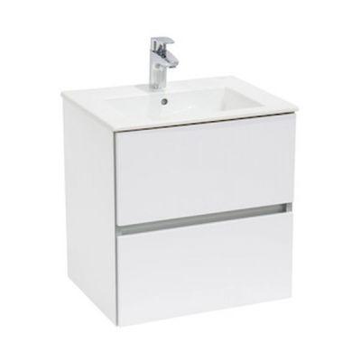 Zestaw łazienkowy Roca Cube 65x55 cm Unik z 2 szufladami (szafka+umywalka), Biały połysk A85119B806 @