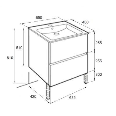 Zdjęcie Zestaw łazienkowy Roca Cube 65×55 cm Unik z 2 szufladami (szafka+umywalka), Biały połysk A85119B806 @