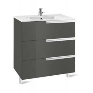Zestaw łazienkowy Roca Victoria – N Family 70x74 cm Unik z 3 szufladami (szafka+umywalka) Szary antracyt A855838153