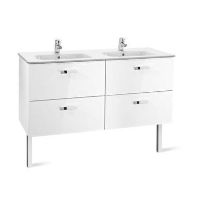 Zestaw łazienkowy Roca Victoria Basic 120x56,5 cm Unik z 4 szufladami (szafka+umywalka) Biały połysk A855850806
