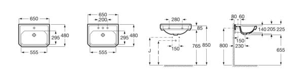 Zdjęcie Umywalka ścienna 3 otwory Maxi Clean Roca Carmen 65×48 cm, biała A3270A1003