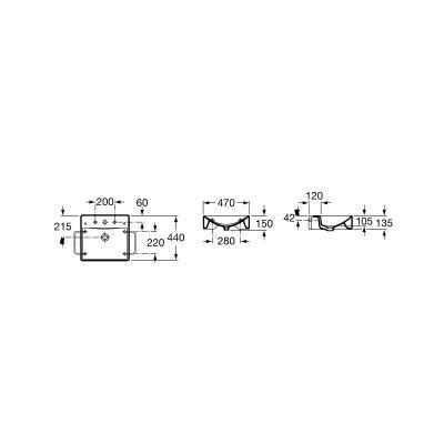 Zdjęcie Umywalka ścienna lub nablatowa z powłoką MaxiClean Roca Diverta 47×44 cm biała A32711100M 440 @