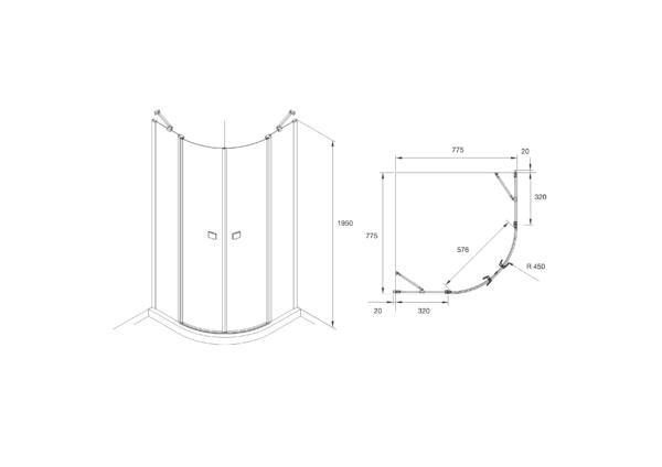 Zdjęcie Kabina prysznicowa Rondo z polem stałym z powłoką MaxiClean, profile aluminiowe chromowane Roca Capital 195×80 cm AM4308012M