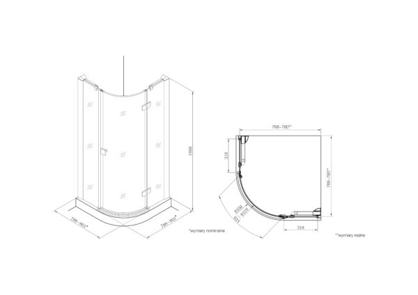 Zdjęcie Kabina prysznicowa Rondo z powłoką MaxiClean, profile aluminiowe chromowane Roca Metropolis 195×80 cm AMP3608012M