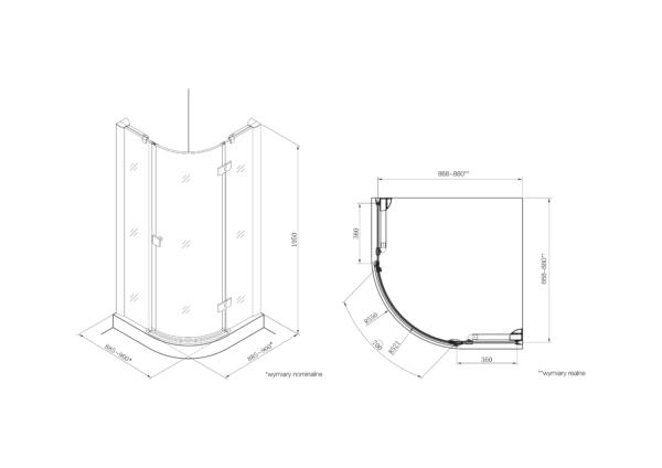 Zdjęcie Kabina prysznicowa Rondo z powłoką MaxiClean, profile aluminiowe chromowane Roca Metropolis 195×90 cm AMP3609012M