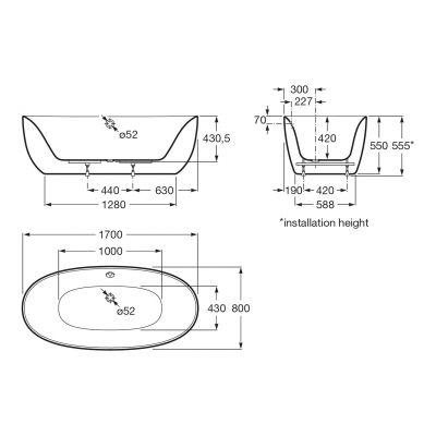 Zdjęcie Owalna wanna akrylowa wolnostojąca Roca Virginia 170×80 cm biały A24T438000