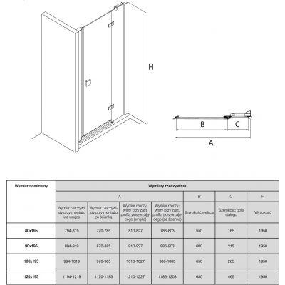 Zdjęcie Drzwi z polem stałym z powłoką MaxiClean, profile aluminiowe chromowane Roca Metropolis 195×90 cm AMP3409012M