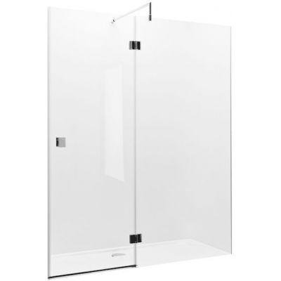 Drzwi z polem stałym z powłoką MaxiClean, profile aluminiowe chromowane Roca Metropolis 195x140 cm AMP3414012M