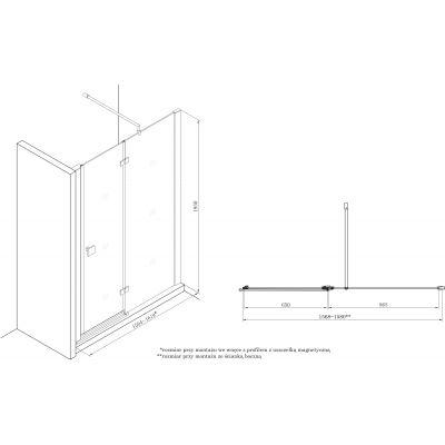 Zdjęcie Drzwi z polem stałym z powłoką MaxiClean, profile aluminiowe chromowane Roca Metropolis 195×160 cm AMP3416012M