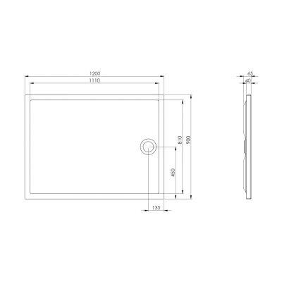 Zdjęcie Brodzik akrylowy flat Roca Granada 120×90 cm biały A276340000