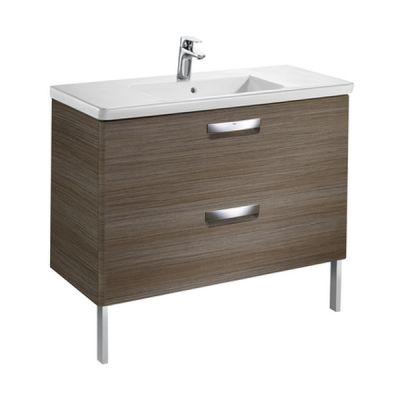 Zestaw łazienkowy Unik z 2 szufladami (szafka+umywalka) Roca Gap Original 100x44x64,5 cm teak A851469456