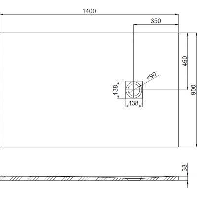 Zdjęcie Brodzik kompozytowy STONEX® Roca Ignis 140×90 cm Szary cement AP70157838401300 @
