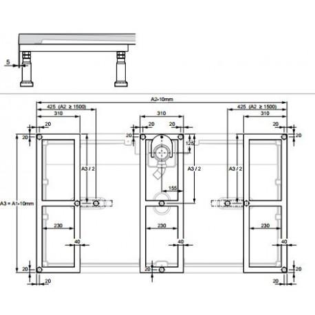 Zdjęcie Elastyczny stelaż metalowy dla brodzików Huppe EasyFlat 215493000