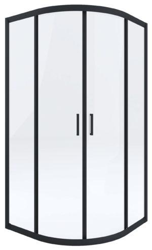 Kabina prysznicowa czarna Deante Funkia półokrągła 90 cm szkło transparentne KYP_N51K
