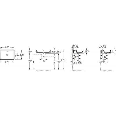 Zdjęcie Umywalka nablatowa prostokątna Roca Gap 60×42 cm biały A3270MN000
