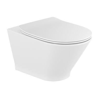 Miska podwieszana WC Rimless Round z deską wolnoopadającą SLIM (zestaw) Roca Gap 35,5x54 cm biały A34H0N8000