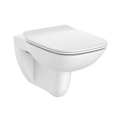 Miska podwieszana WC Rimless Square  z deską wolnoopadającą SLIM (zestaw) Roca Debba 35,5x54 cm biały A34H993000