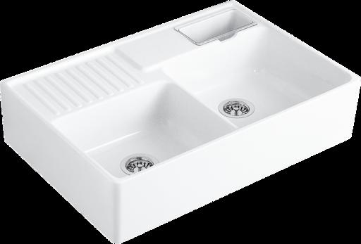 Zlewozmywak ceramiczny dwukomorowy Villeroy & Boch Double-bowl sink biały 895 x 220 x 630 mm 632391R1