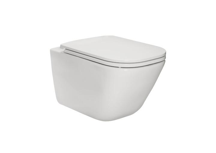 Miska podwieszana WC Rimless Square z deską wolnoopadającą (zestaw) Roca Gap 54x34,7 cm biały A34H470000
