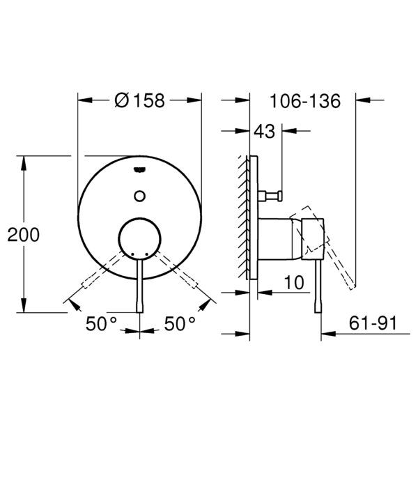 Zdjęcie Podtynkowa bateria do obsługi dwóch wyjść wody Grohe Essence cool sunrise 24058GL1 .