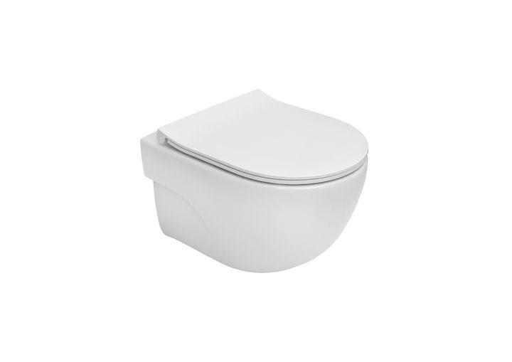Miska WC podwieszana Compacto Rimless Roca Meridian 36x48 cm  z deską wolnoopadającą SLIM (zestaw) A34H242000