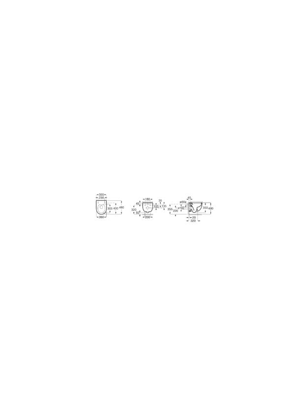 Zdjęcie Miska WC podwieszana Compacto Rimless Roca Meridian 36×48 cm  z deską wolnoopadającą SLIM (zestaw) A34H242000