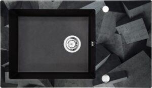 Deante Capella Zlewozmywak szklano-granitowy 1-komorowy z ociekaczem ZSC_GB2C