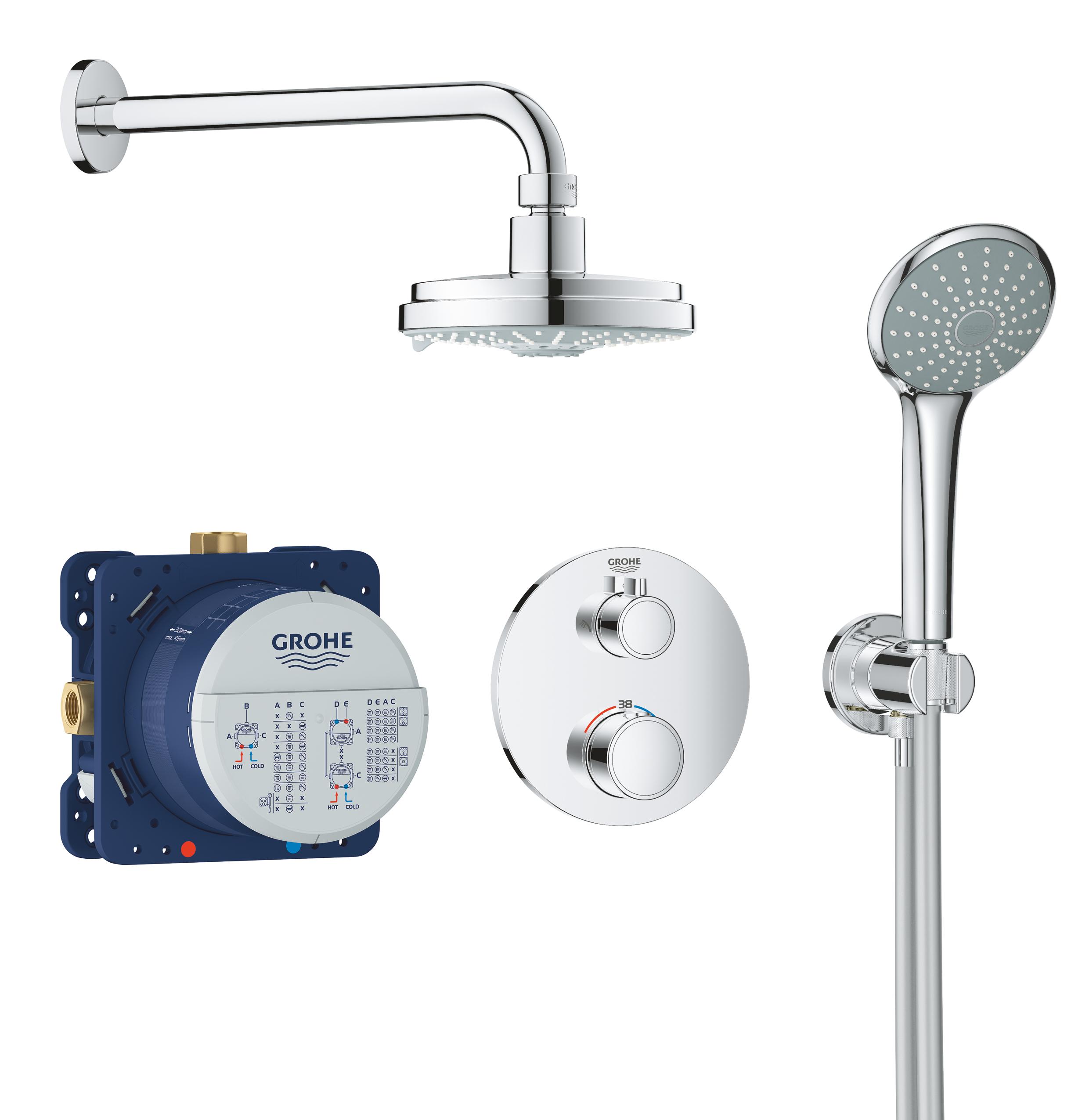 Termostatyczny system prysznicowy do montażu podtynkowego Grohe Grohtherm Rainshower Cosmopolitan 160 chrom 34735000