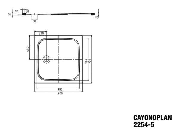 Zdjęcie Brodzik kwadratowy Kaldewei Cayonoplan 2254-5 900x900x185mm Obniżony nośnik Biały 361447980001
