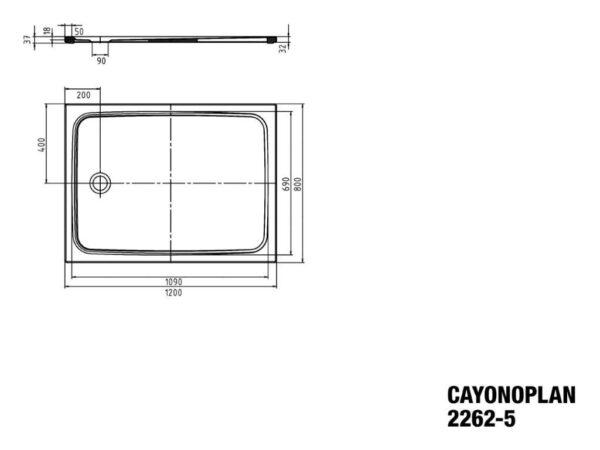 Zdjęcie Brodzik prostokątny Kaldewei Cayonoplan 2262-5 800x1200x185mm Obniżony nośnik Antypoślizg Biały 362247930001