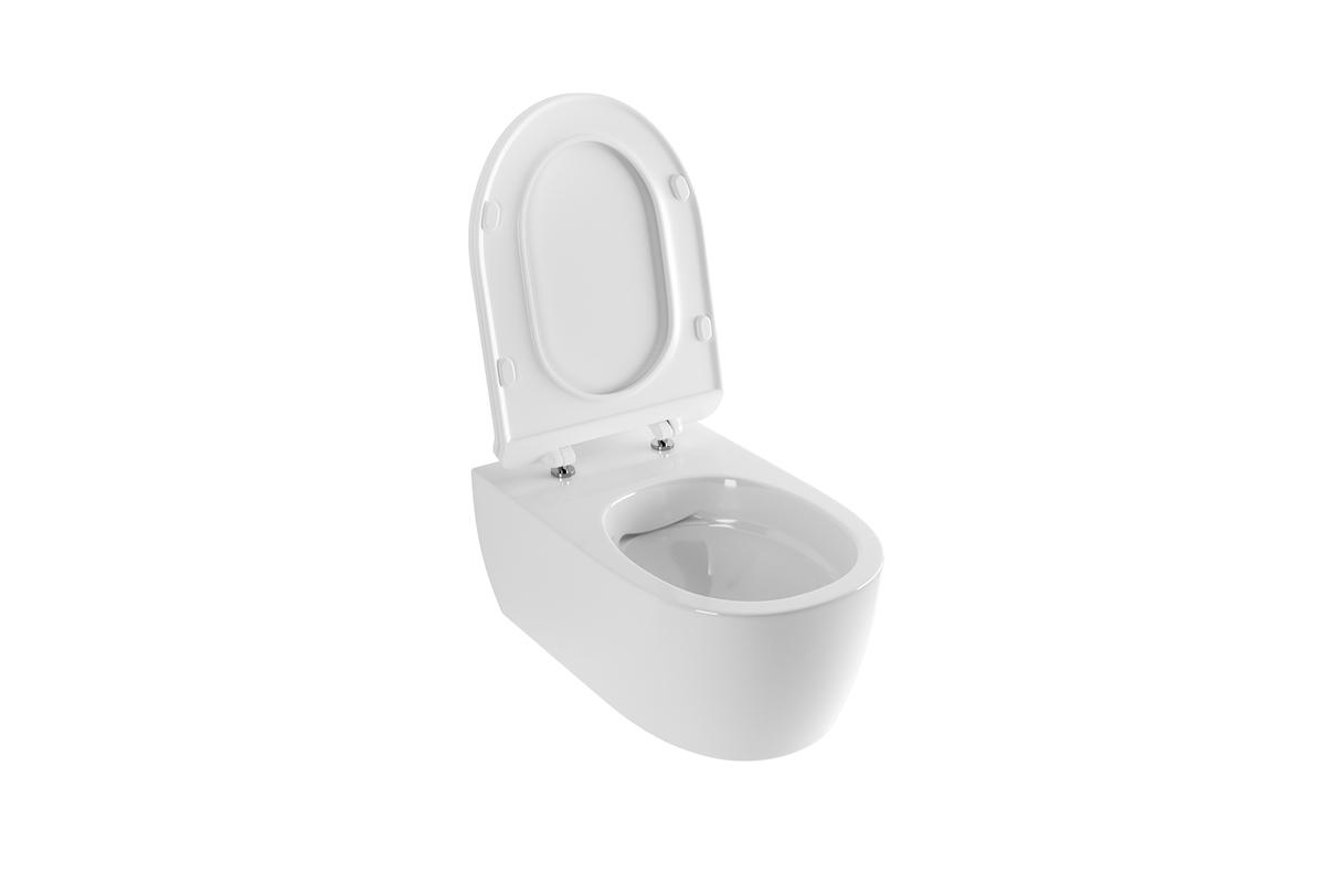 Miska WC wisząca bez kołnierza z deską wolnoopadającą biała Excellent Doto Pure 54,5x36 cm biały CEEX.1404.545.WH