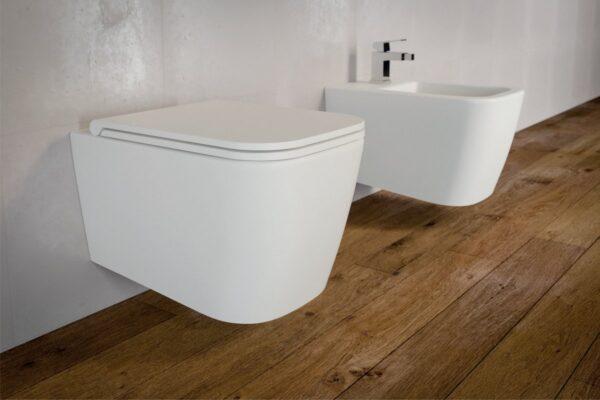 Zdjęcie Miska WC wisząca bez kołnierza Excellent Quadra 55×36 cm biały CESD.WCSQDR