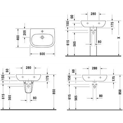 Zdjęcie Umywalka ścienna Duravit D-Code 60×46 cm biały 23106000002