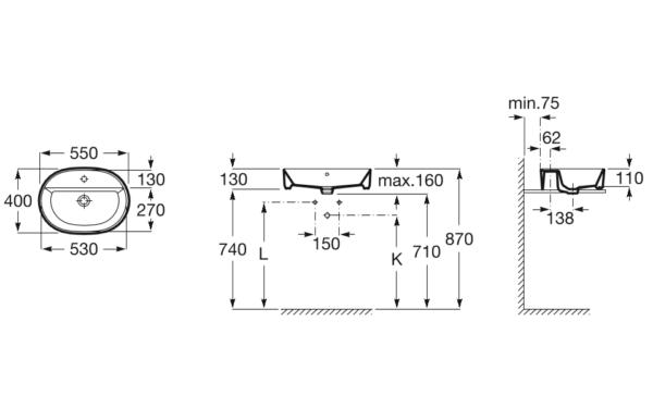 Zdjęcie Umywalka nablatowa Roca Gap Round owalna z otworem na baterię z przelewem 55×40 cm A3270Y0000