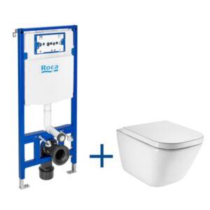 Zestaw podtynkowy Duplo 50x112 cm+ miska WC podwieszana Roca Gap Square Rimless 34x54 cm + deską A893104490