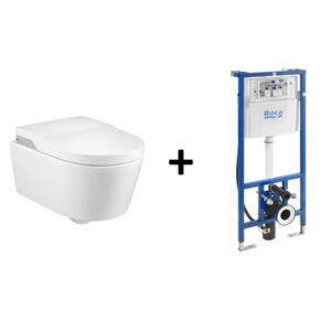 PROMOCJA! Stelaż za 1zł In-Wash® - toaleta myjąca podwieszana Roca Inspira Rimless, zasilanie 230V A803060001 + stelaż DUPLO SMART WC A890090800